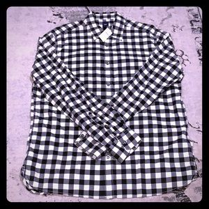 NWT Mens GAP black and white gingham shirt Large